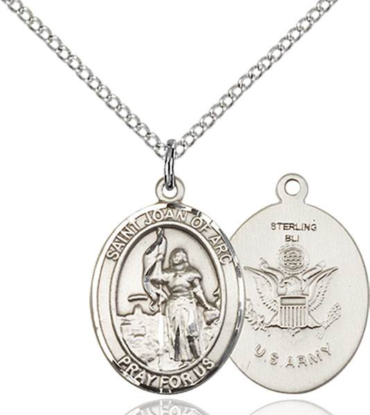 St. Joan of Arc / Army Pendant St. Joan Of Arc / Army ,Soldiers and France,Military,Army, sterling silver medals, gold filled medals, patron, saints, saint medal, saint pendant, saint necklace, 8053,7053 Army,9053 Army,