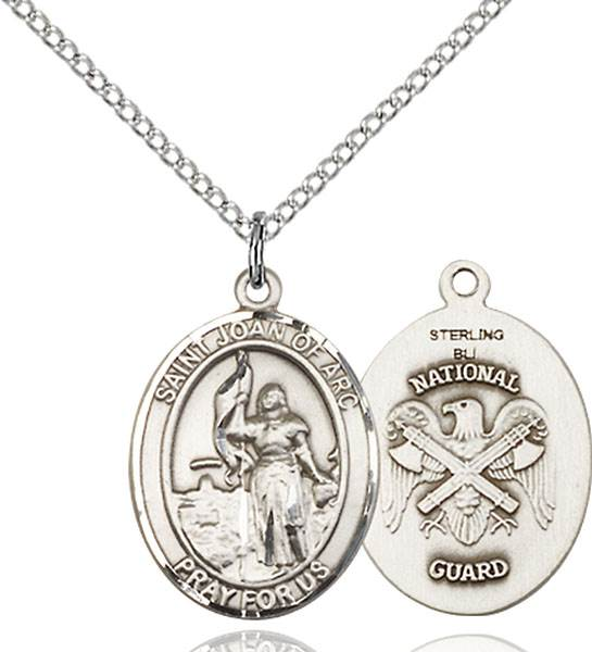 St. Joan of Arc / National Guard Pendant St. Joan Of Arc / National Guard ,Soldiers and France,Military,National Guard, sterling silver medals, gold filled medals, patron, saints, saint medal, saint pendant, saint necklace, 8053,7053 National Guard,9053 National Guard,