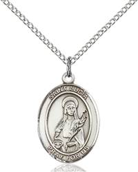 St. Lucia of Syracuse Pendant St. Lucia Of Syracuse ,Eye Diseases and Writers,Patron Saints,Patron Saints - L, sterling silver medals, gold filled medals, patron, saints, saint medal, saint pendant, saint necklace, 8065,7065,9065,7065SS,8065SS,9065SS,7065GF,8065GF,9065GF,