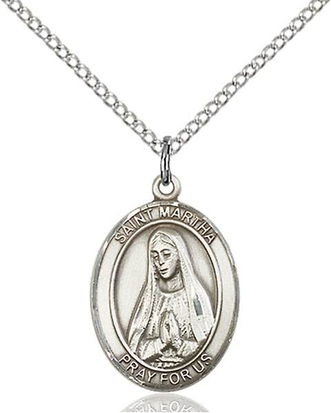 St. Martha Pendant St. Martha ,Maids and Innkeepers,Patron Saints,Patron Saints - M, sterling silver medals, gold filled medals, patron, saints, saint medal, saint pendant, saint necklace, 8075,7075,9075,7075SS,8075SS,9075SS,7075GF,8075GF,9075GF,