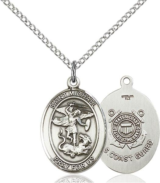St. Michael / Coast Guard Pendant St. Michael / Coast Guard ,Police Officers and EMTs,Military,Coast Guard, sterling silver medals, gold filled medals, patron, saints, saint medal, saint pendant, saint necklace, 8076,7076 Coast Guard,9076 Coast Guard,