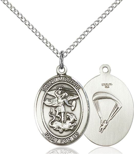St. Michael / Paratrooper Pendant St. Michael / Paratrooper ,Police Officers and EMTs,Military,Paratrooper, sterling silver medals, gold filled medals, patron, saints, saint medal, saint pendant, saint necklace, 8076,7076 Paratrooper,9076 Paratrooper,