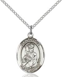 St. Louis Pendant St. Louis ,Builders and Parenthood,Patron Saints,Patron Saints - L, sterling silver medals, gold filled medals, patron, saints, saint medal, saint pendant, saint necklace, 8081,7081,9081,7081SS,8081SS,9081SS,7081GF,8081GF,9081GF,