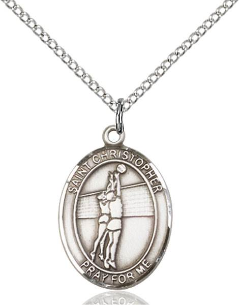 St. Christopher/Volleyball Pendant St. Christopher/Volleyball ,Travelers and Motorists,Patron Sports,Volleyball, sterling silver medals, gold filled medals, patron, saints, saint medal, saint pendant, saint necklace, 8138,7138,9138,7138SS,8138SS,9138SS,7138GF,8138GF,9138GF,
