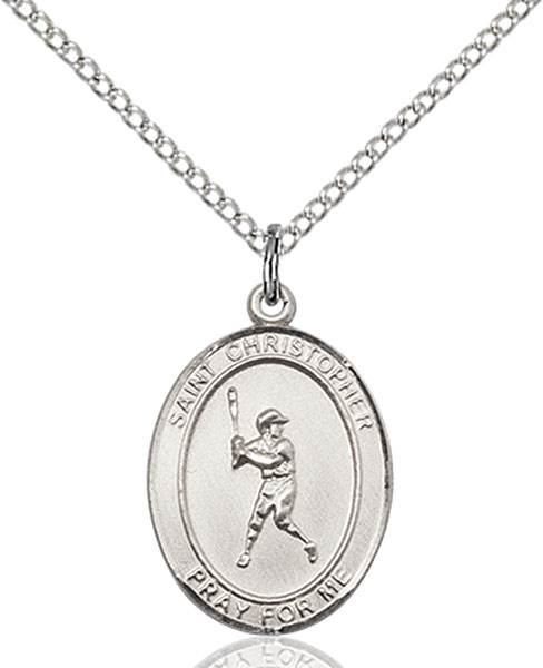St. Christopher/Baseball Pendant St. Christopher/Baseball ,Travelers and Motorists,Patron Sports,Baseball, sterling silver medals, gold filled medals, patron, saints, saint medal, saint pendant, saint necklace, 8150,7150,9150,7150SS,8150SS,9150SS,7150GF,8150GF,9150GF,