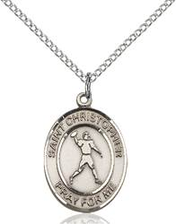 St. Christopher/Football Pendant St. Christopher/Football ,Travelers and Motorists,Patron Sports,Football, sterling silver medals, gold filled medals, patron, saints, saint medal, saint pendant, saint necklace, 8151,7151,9151,7151SS,8151SS,9151SS,7151GF,8151GF,9151GF,