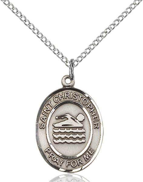 St. Christopher/Swimming Pendant St. Christopher/Swimming ,Travelers and Motorists,Patron Sports,Swimming, sterling silver medals, gold filled medals, patron, saints, saint medal, saint pendant, saint necklace, 8157,7157,9157,7157SS,8157SS,9157SS,7157GF,8157GF,9157GF,