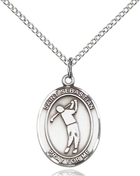 St. Sebastian/Golf Pendant St. Sebastian/Golf ,Athletes and Soldiers,Patron Sports,Golf, sterling silver medals, gold filled medals, patron, saints, saint medal, saint pendant, saint necklace, 8162,7162,9162,7162SS,8162SS,9162SS,7162GF,8162GF,9162GF,