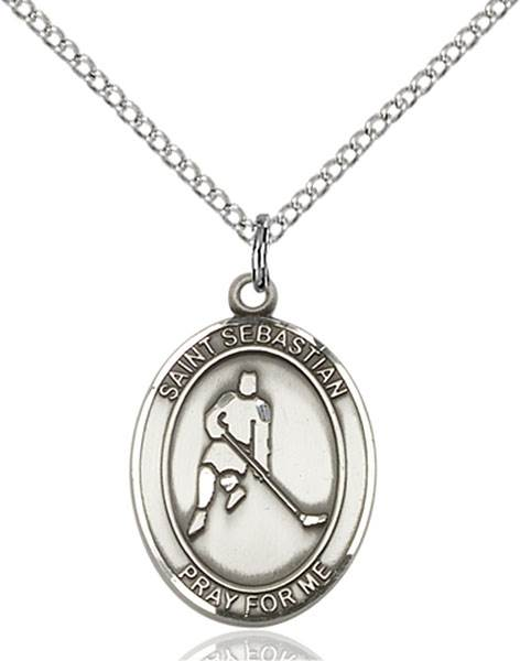St. Sebastian/Ice Hockey Pendant St. Sebastian/Ice Hockey ,Athletes and Soldiers,Patron Sports,Ice Hockey, sterling silver medals, gold filled medals, patron, saints, saint medal, saint pendant, saint necklace, 8165,7165,9165,7165SS,8165SS,9165SS,7165GF,8165GF,9165GF,