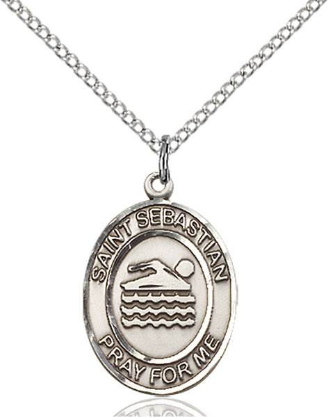 St. Sebastian/Swimming Pendant St. Sebastian/Swimming ,Athletes and Soldiers,Patron Sports,Swimming, sterling silver medals, gold filled medals, patron, saints, saint medal, saint pendant, saint necklace, 8167,7167,9167,7167SS,8167SS,9167SS,7167GF,8167GF,9167GF,
