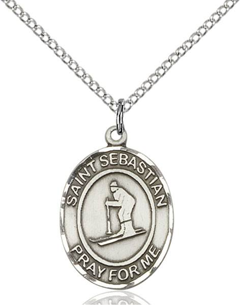 St. Sebastian/Skiing Pendant St. Sebastian/Skiing ,Athletes and Soldiers,Patron Sports,Skiing, sterling silver medals, gold filled medals, patron, saints, saint medal, saint pendant, saint necklace, 8169,7169,9169,7169SS,8169SS,9169SS,7169GF,8169GF,9169GF,