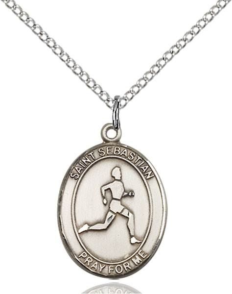 St. Sebastian/Track & Field Pendant St. Sebastian/Track & Field ,Athletes and Soldiers,Patron Sports,TrackField, sterling silver medals, gold filled medals, patron, saints, saint medal, saint pendant, saint necklace, 8176,7176,9176,7176SS,8176SS,9176SS,7176GF,8176GF,9176GF,