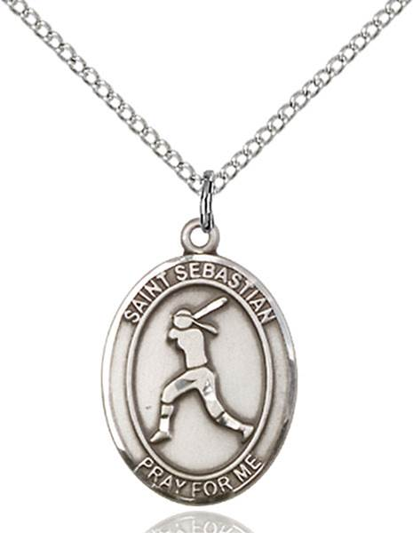 St. Sebastian / Softball Pendant St. Sebastian  / Softball ,Athletes and Soldiers,Patron Sports,Softball, sterling silver medals, gold filled medals, patron, saints, saint medal, saint pendant, saint necklace, 8183,7183,9183,7183SS,8183SS,9183SS,7183GF,8183GF,9183GF,