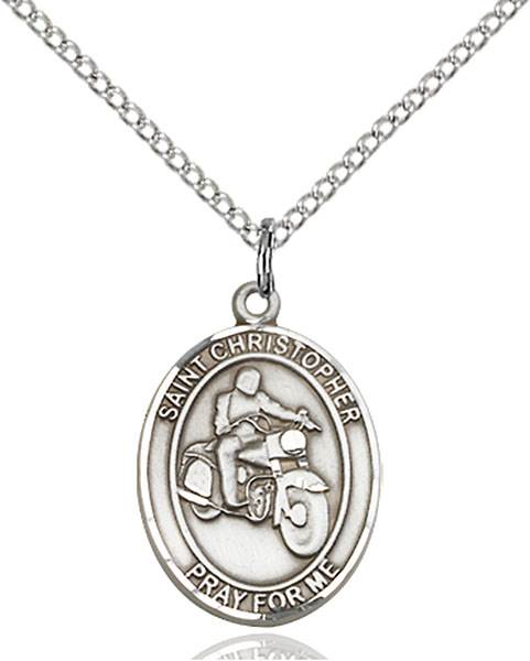 St. Christopher/Motorcycle Patron Saint Necklace