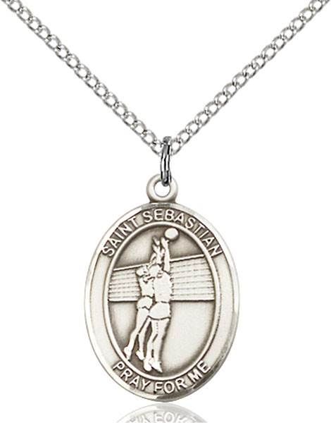 St. Sebastian / Volleyball Pendant St. Sebastian / Volleyball ,Athletes and Soldiers,Patron Sports,Volleyball, sterling silver medals, gold filled medals, patron, saints, saint medal, saint pendant, saint necklace, 8186,7186,9186,7186SS,8186SS,9186SS,7186GF,8186GF,9186GF,