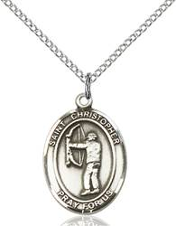St. Christopher/Archery Pendant St. Christopher/Archery ,Travelers and Motorists,Patron Sports,Archery, sterling silver medals, gold filled medals, patron, saints, saint medal, saint pendant, saint necklace, 8190,7190,9190,7190SS,8190SS,9190SS,7190GF,8190GF,9190GF,