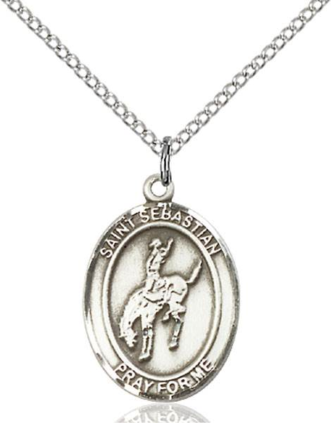 St. Sebastian / Rodeo Pendant St. Sebastian / Rodeo ,Athletes and Soldiers,Patron Sports,Rodeo, sterling silver medals, gold filled medals, patron, saints, saint medal, saint pendant, saint necklace, 8191,7191,9191,7191SS,8191SS,9191SS,7191GF,8191GF,9191GF,