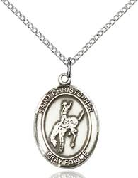 St. Christopher / Rodeo Pendant St. Christopher / Rodeo ,Travelers and Motorists,Patron Sports,Rodeo, sterling silver medals, gold filled medals, patron, saints, saint medal, saint pendant, saint necklace, 8192,7192,9192,7192SS,8192SS,9192SS,7192GF,8192GF,9192GF,