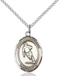 St. Christopher / Rugby Pendant St. Christopher / Rugby ,Travelers and Motorists,Patron Sports,Rugby, sterling silver medals, gold filled medals, patron, saints, saint medal, saint pendant, saint necklace, 8194,7194,9194,7194SS,8194SS,9194SS,7194GF,8194GF,9194GF,