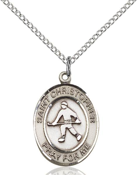 St. Christopher / Field Hockey Pendant St. Christopher / Field Hockey ,Travelers and Motorists,Patron Sports,Field Hockey, sterling silver medals, gold filled medals, patron, saints, saint medal, saint pendant, saint necklace, 8195,7195,9195,7195SS,8195SS,9195SS,7195GF,8195GF,9195GF,