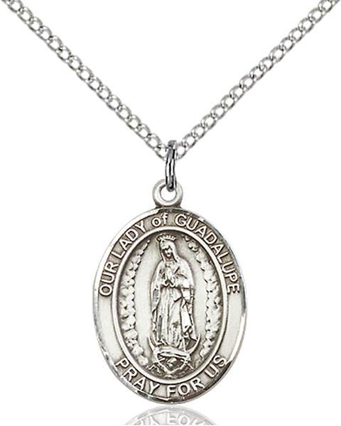 Our Lady of Guadalupe Pendant O/L Of Guadalupe ,Central America,Our Lady And Miraculous,O/L of GUADALUPE, sterling silver medals, gold filled medals, patron, saints, saint medal, saint pendant, saint necklace, 8206,7206,9206,7206SS,8206SS,9206SS,7206GF,8206GF,9206GF,
