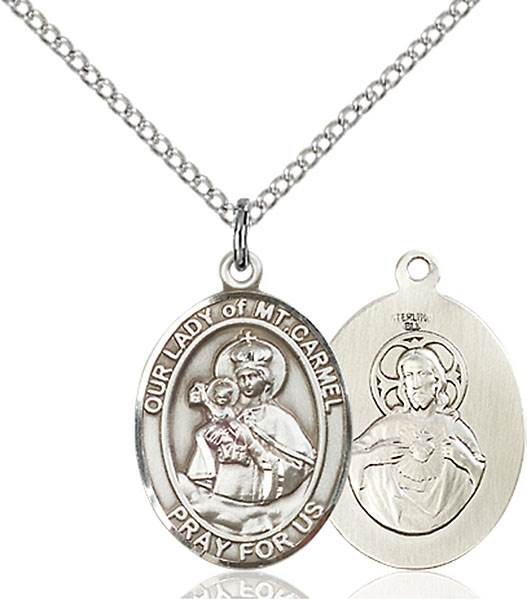 Our Lady of Mount Carmel Pendant O/L Of Mount Carmel ,Chile,Our Lady And Miraculous,O/L of MOUNT CARMEL, sterling silver medals, gold filled medals, patron, saints, saint medal, saint pendant, saint necklace, 8243,7243,9243,7243SS,8243SS,9243SS,7243GF,8243GF,9243GF,