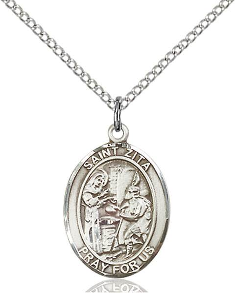 St. Zita Pendant St. Zita ,Servers and Waiters,Patron Saints,Patron Saints - Z, sterling silver medals, gold filled medals, patron, saints, saint medal, saint pendant, saint necklace, 8244,7244,9244,7244SS,8244SS,9244SS,7244GF,8244GF,9244GF,