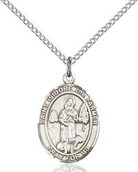 St. Isidore The Farmer Pendant St. Isidore The Farmer ,Agricultural Workers,Patron Saints,Patron Saints - I, sterling silver medals, gold filled medals, patron, saints, saint medal, saint pendant, saint necklace, 8276,7276,9276,7276SS,8276SS,9276SS,7276GF,8276GF,9276GF,