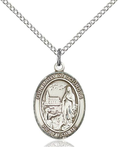 Our Lady of Lourdes Pendant O/L Of Lourdes,Our Lady And Miraculous,O/L of LOURDES, sterling silver medals, gold filled medals, patron, saints, saint medal, saint pendant, saint necklace, 8288,7288,9288,7288SS,8288SS,9288SS,7288GF,8288GF,9288GF,