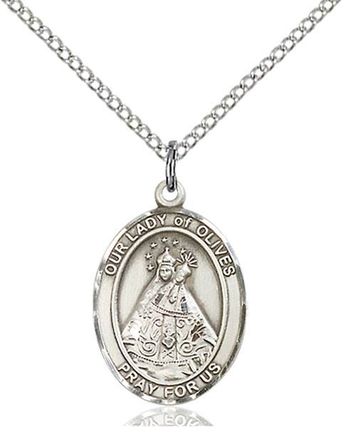 Our Lady of Olives Pendant O/L Of Olives,Our Lady And Miraculous,O/L of OLIVES, sterling silver medals, gold filled medals, patron, saints, saint medal, saint pendant, saint necklace, 8303,7303,9303,7303SS,8303SS,9303SS,7303GF,8303GF,9303GF,