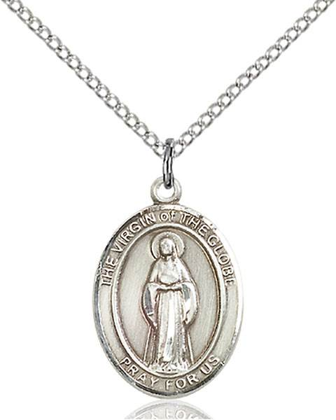 Virgin of The Globe Pendant Virgin Of The Globe,Unusual & Specialty,VIRGIN of the GLOBE, sterling silver medals, gold filled medals, patron, saints, saint medal, saint pendant, saint necklace, 8345,7345,9345,7345SS,8345SS,9345SS,7345GF,8345GF,9345GF,