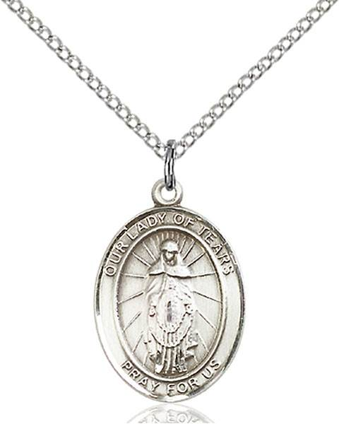 Our Lady of Tears Pendant O/L Of Tears,Our Lady And Miraculous,O/L of TEARS, sterling silver medals, gold filled medals, patron, saints, saint medal, saint pendant, saint necklace, 8346,7346,9346,7346SS,8346SS,9346SS,7346GF,8346GF,9346GF,