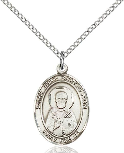St. John Chrysostom Pendant St. John Chrysostom ,Epilepsy and Orators,Patron Saints,Patron Saints - J, sterling silver medals, gold filled medals, patron, saints, saint medal, saint pendant, saint necklace, 8357,7357,9357,7357SS,8357SS,9357SS,7357GF,8357GF,9357GF,