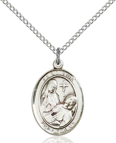 St. Fina Pendant St. Fina ,Handicapped People,Patron Saints,Patron Saints - F, sterling silver medals, gold filled medals, patron, saints, saint medal, saint pendant, saint necklace, 8364,7364,9364,7364SS,8364SS,9364SS,7364GF,8364GF,9364GF,