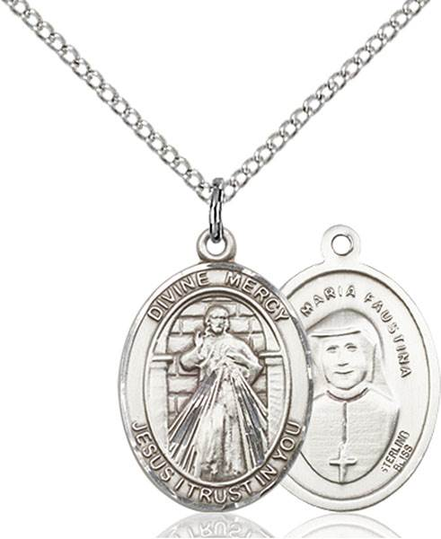 Divine Mercy Necklace Sterling Silver