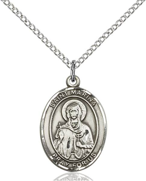 St. Marina Pendant St. Marina,Patron Saints,Patron Saints - M, sterling silver medals, gold filled medals, patron, saints, saint medal, saint pendant, saint necklace, 8379,7379,9379,7379SS,8379SS,9379SS,7379GF,8379GF,9379GF,