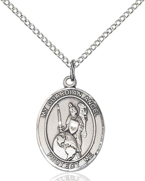 Guardian Angel of The World Pendant Guardian Angel Of The World,Unusual & Specialty,Angels, sterling silver medals, gold filled medals, patron, saints, saint medal, saint pendant, saint necklace, 8441,7441,9441,7441SS,8441SS,9441SS,7441GF,8441GF,9441GF,