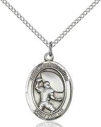 St. Christopher / Football Pendant St. Christopher / Football ,Travelers and Motorists,Patron Sports,Football, sterling silver medals, gold filled medals, patron, saints, saint medal, saint pendant, saint necklace, 8501,7501,9501,7501SS,8501SS,9501SS,7501GF,8501GF,9501GF,