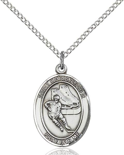 St. Christopher/Hockey Pendant St. Christopher/Hockey ,Travelers and Motorists,Patron Sports,Hockey, sterling silver medals, gold filled medals, patron, saints, saint medal, saint pendant, saint necklace, 8504,7504,9504,7504SS,8504SS,9504SS,7504GF,8504GF,9504GF,