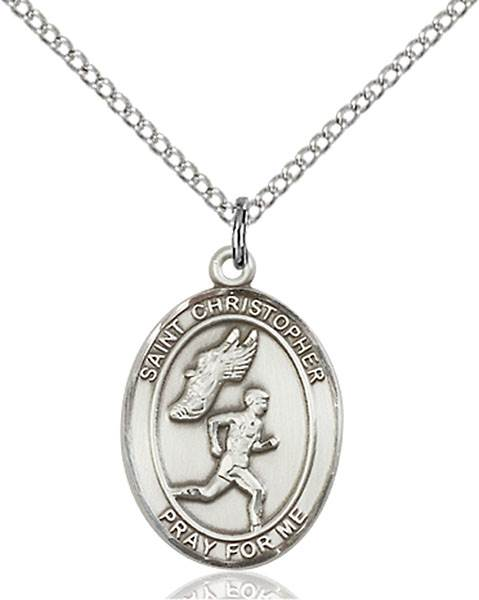 St. Christopher/Track&Field Pendant St. Christopher/Track&Field ,Travelers and Motorists,Patron Sports,TrackField, sterling silver medals, gold filled medals, patron, saints, saint medal, saint pendant, saint necklace, 8509,7509,9509,7509SS,8509SS,9509SS,7509GF,8509GF,9509GF,