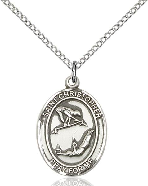 St Christopher / Gymnastics Pendant St Christopher / Gymnastics ,Travelers and Motorists,Patron Sports,Gymnastics, sterling silver medals, gold filled medals, patron, saints, saint medal, saint pendant, saint necklace, 8513,7513,9513,7513SS,8513SS,9513SS,7513GF,8513GF,9513GF,