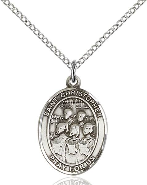 St Christopher / Choir Pendant St Christopher / Choir ,Travelers and Motorists,Patron Sports,Choir, sterling silver medals, gold filled medals, patron, saints, saint medal, saint pendant, saint necklace, 8514,7514,9514,7514SS,8514SS,9514SS,7514GF,8514GF,9514GF,