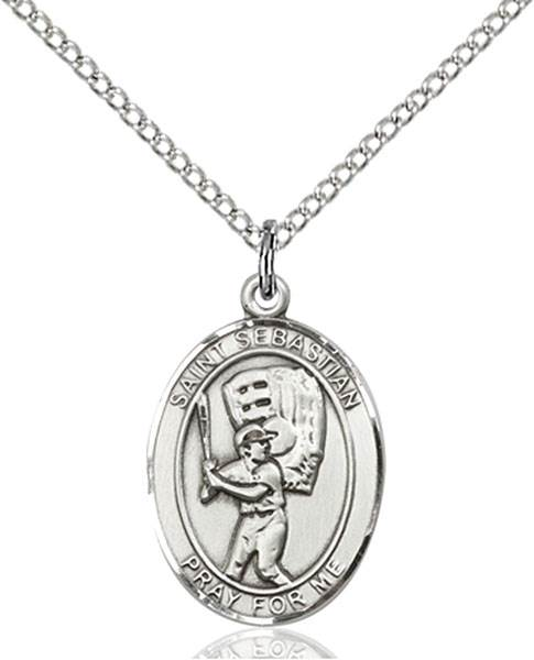 St. Sebastian / Baseball Pendant St. Sebastian / Baseball ,Athletes and Soldiers,Patron Sports,Baseball, sterling silver medals, gold filled medals, patron, saints, saint medal, saint pendant, saint necklace, 8600,7600,9600,7600SS,8600SS,9600SS,7600GF,8600GF,9600GF,