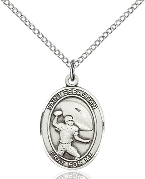 St. Sebastian / Football Pendant St. Sebastian / Football ,Athletes and Soldiers,Patron Sports,Football, sterling silver medals, gold filled medals, patron, saints, saint medal, saint pendant, saint necklace, 8601,7601,9601,7601SS,8601SS,9601SS,7601GF,8601GF,9601GF,