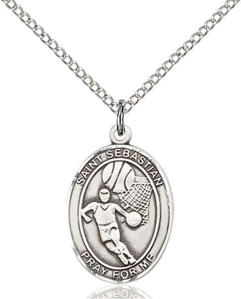 St. Sebastian / Basketball Pendant St. Sebastian / Basketball ,Athletes and Soldiers,Patron Sports,Basketball, sterling silver medals, gold filled medals, patron, saints, saint medal, saint pendant, saint necklace, 8602,7602,9602,7602SS,8602SS,9602SS,7602GF,8602GF,9602GF,