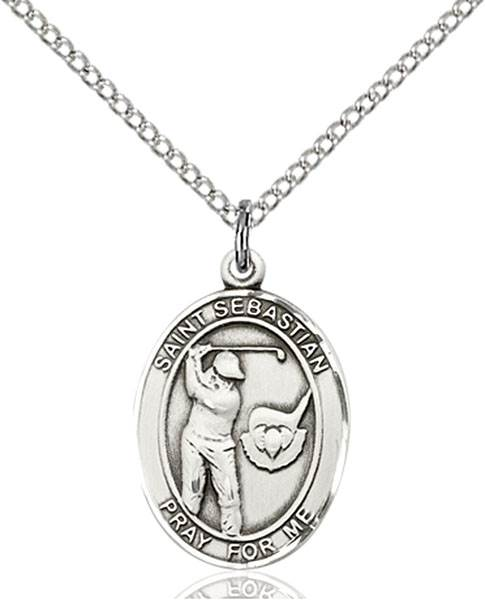St. Sebastian / Golf Pendant St. Sebastian / Golf ,Athletes and Soldiers,Patron Sports,Golf, sterling silver medals, gold filled medals, patron, saints, saint medal, saint pendant, saint necklace, 8606,7606,9606,7606SS,8606SS,9606SS,7606GF,8606GF,9606GF,