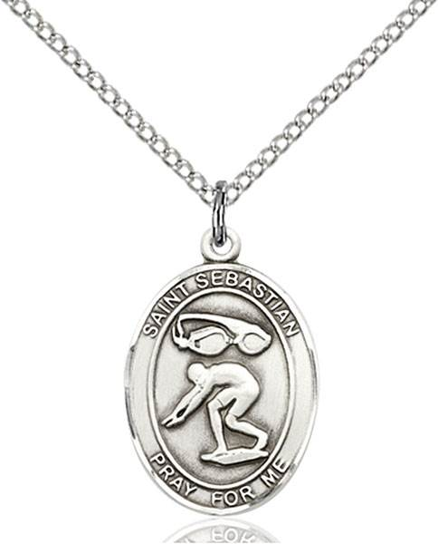 St. Sebastian / Swimming Pendant St. Sebastian / Swimming ,Athletes and Soldiers,Patron Sports,Swimming, sterling silver medals, gold filled medals, patron, saints, saint medal, saint pendant, saint necklace, 8611,7611,9611,7611SS,8611SS,9611SS,7611GF,8611GF,9611GF,