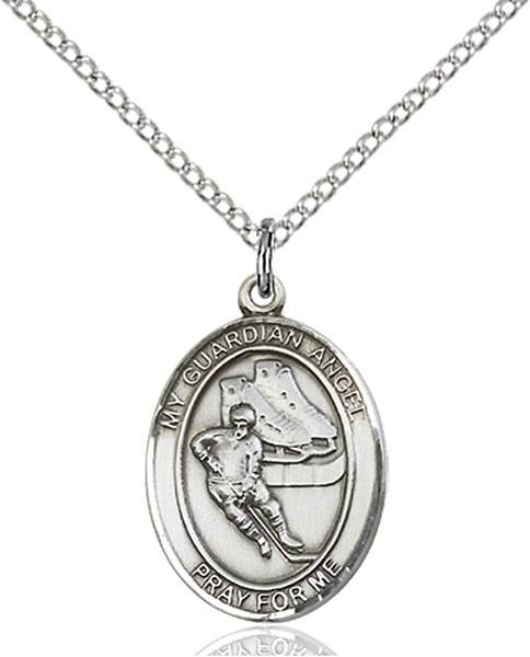 Guardian Angel/Hockey Pendant Guardian Angel/Hockey,Patron Sports,Hockey, sterling silver medals, gold filled medals, patron, saints, saint medal, saint pendant, saint necklace, 8704,7704,9704,7704SS,8704SS,9704SS,7704GF,8704GF,9704GF,