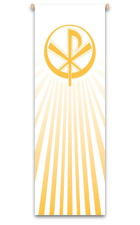 White Chi Rho Banner 7112, 7212, banners, church banners, decoration, church decoration, decor, church decor, wall hangings, sanctuary appointments, appointments