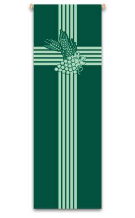 Green Wheat and Grapevine Banner 7114, 7214, banners, church banners, eucharist banner, wheat and grapes, wheat, grapes, decoration, church decoration, decor, church decor, wall hangings, sanctuary appointments, appointments